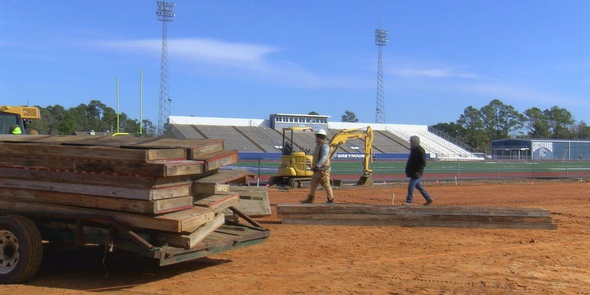Construction begins at Greyhound Stadium