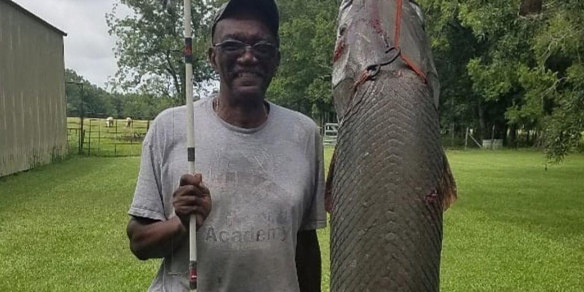 Louisiana man snags 7-foot Gar fish