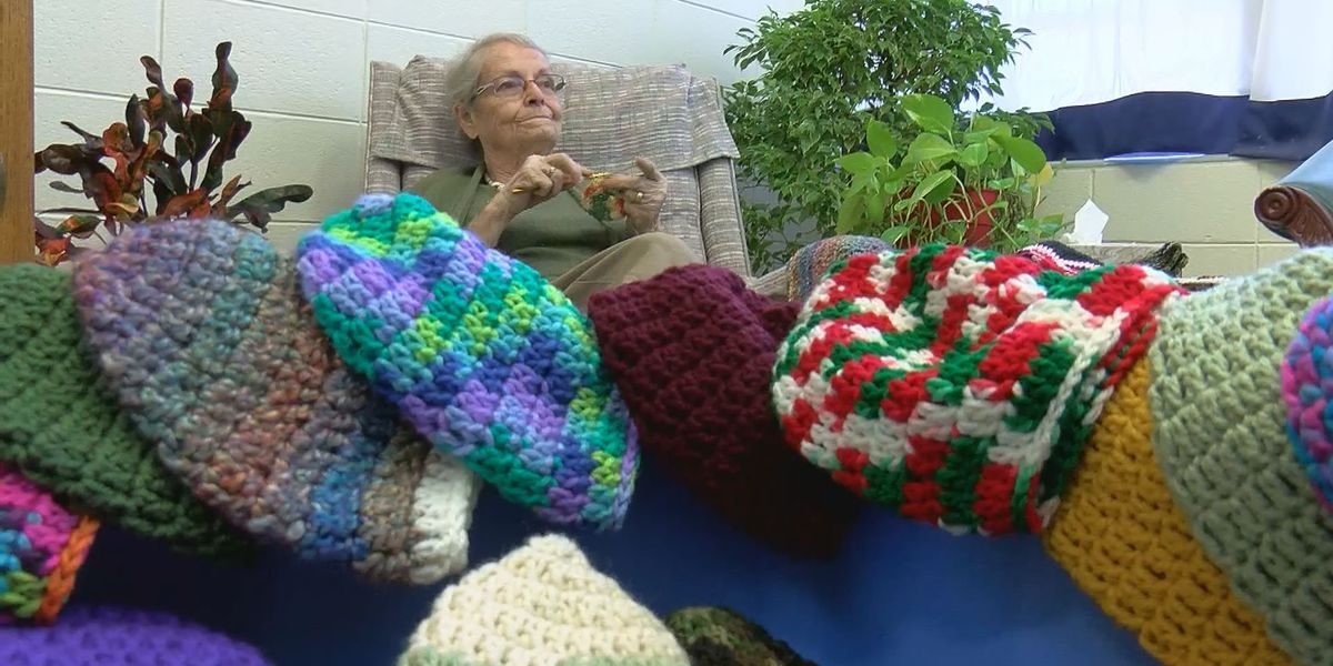 81-year-old lady crochets 400 caps to give away to those in need