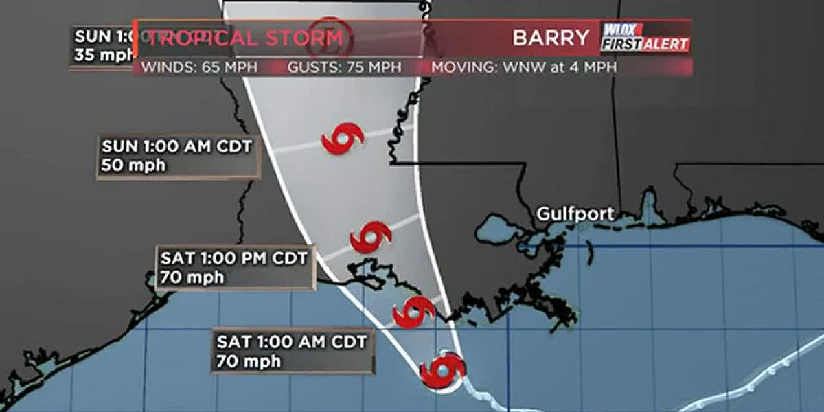 7 PM NHC Tropical Storm Barry Update