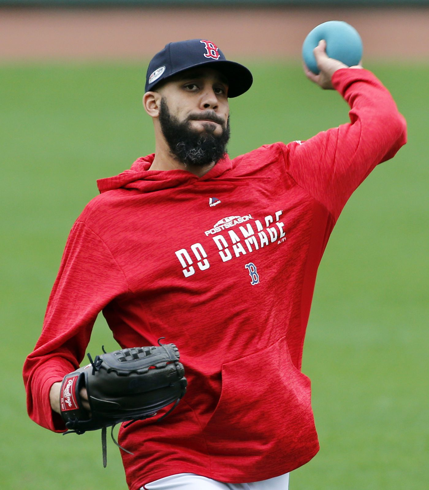 121895ea4 Boston Red Sox pitcher David Price throws a heavy ball during a baseball  workout at Fenway