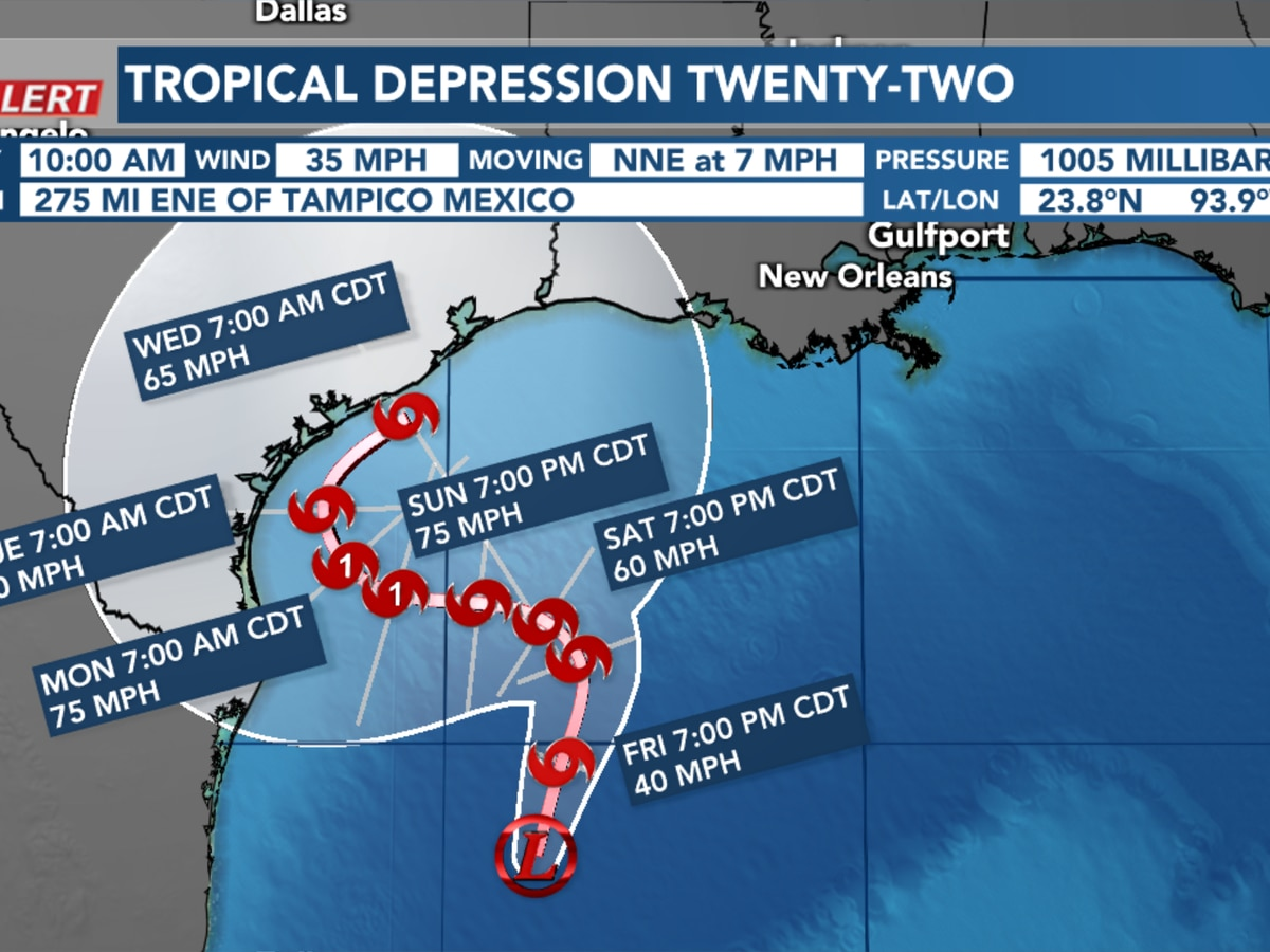 Tropical Depression Twenty-Two forecast to become a hurricane