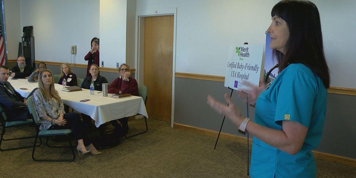 Merit Health Biloxi celebrating their Baby-Friendly designation
