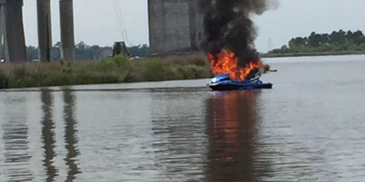 Biloxi Fire Department responding to jet ski fire
