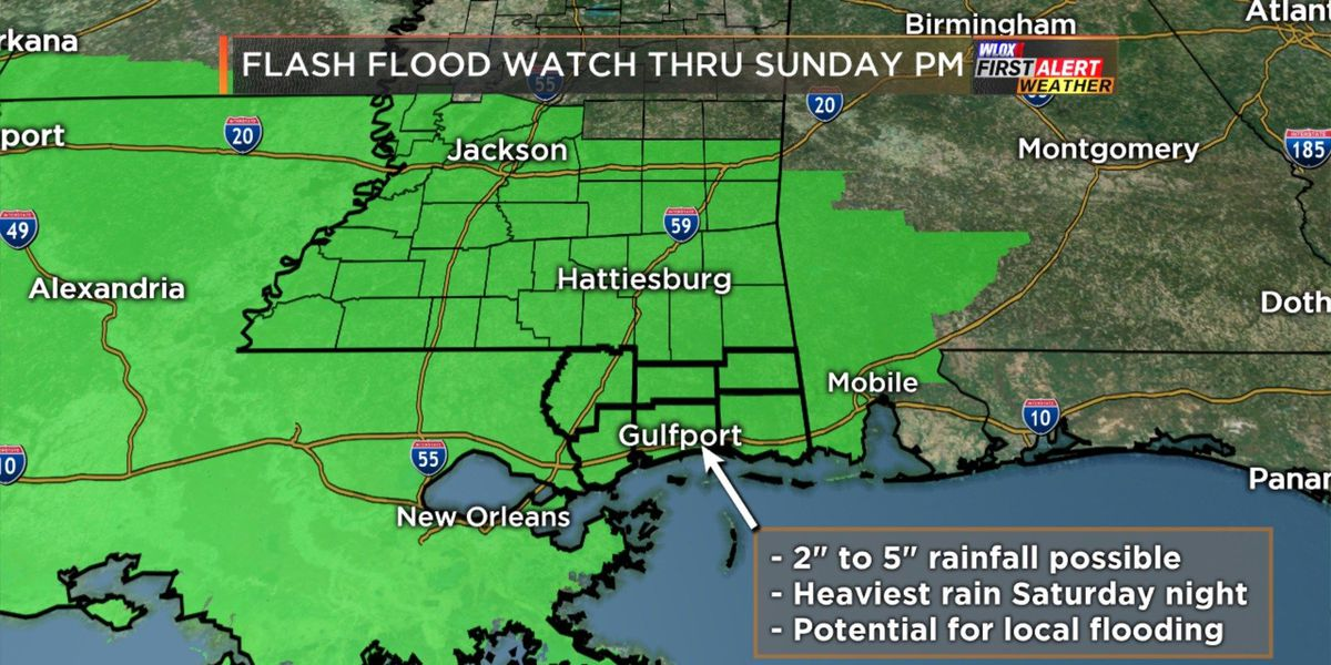 Flash Flooding Potential begins late Saturday