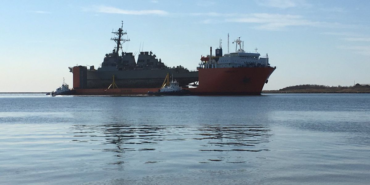 USS Fitzgerald leaves dry dock, continues restoration process in Pascagoula