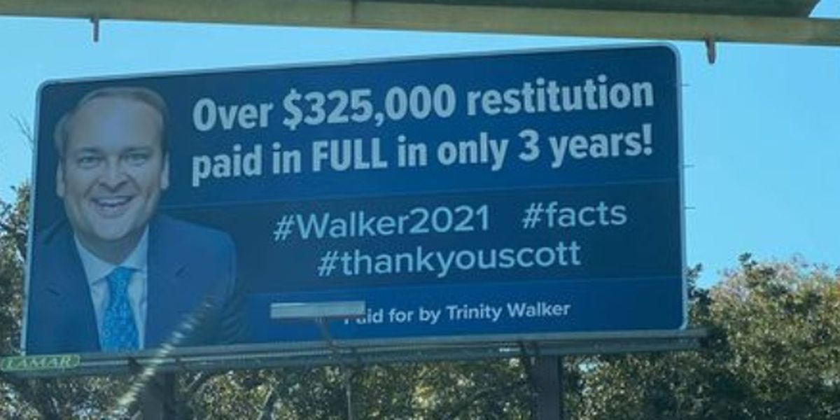 Trinity Walker buys billboards thanking husband for repaying stolen taxpayer money