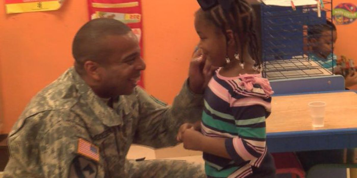 D'Iberville soldier surprises 3-year-old daughter in preschool class