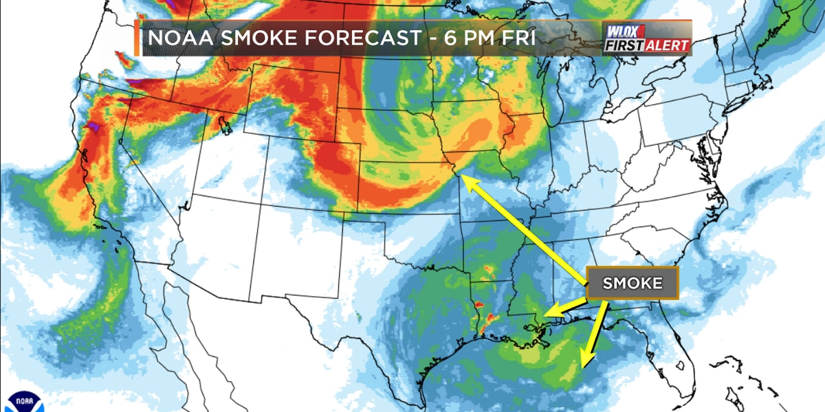 Wildfires burning in Canada and northwest US causing hazy skies in South Mississippi