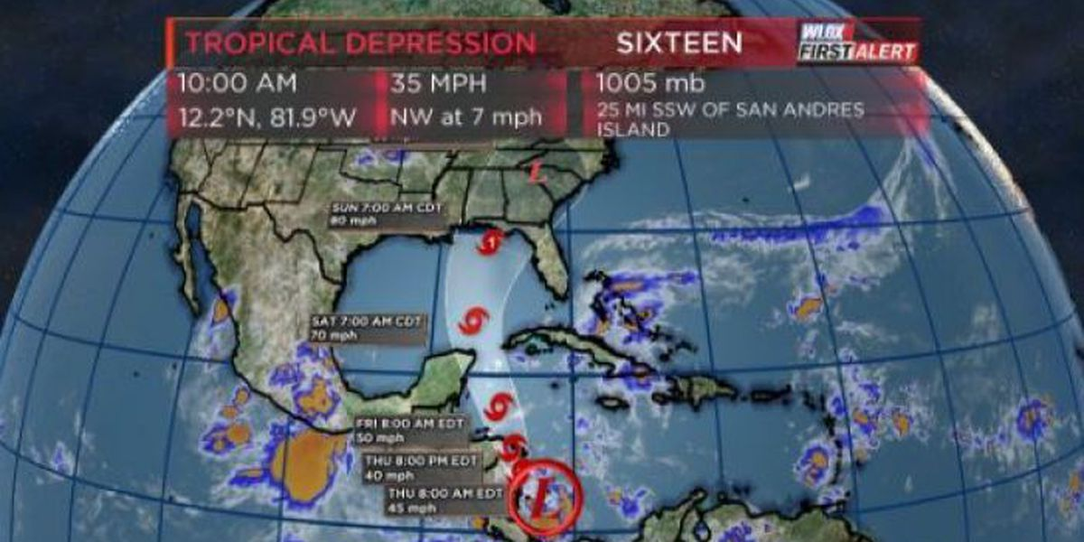 Tropical Depression 16 forms; expected to hit Gulf Coast as hurricane