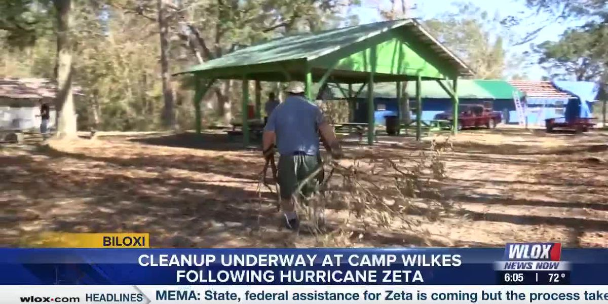 Cleanup underway at Camp Wilkes following Hurricane Zeta