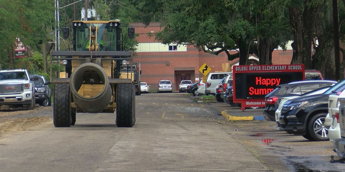 Road construction blocks entrance at Biloxi Upper Elementary