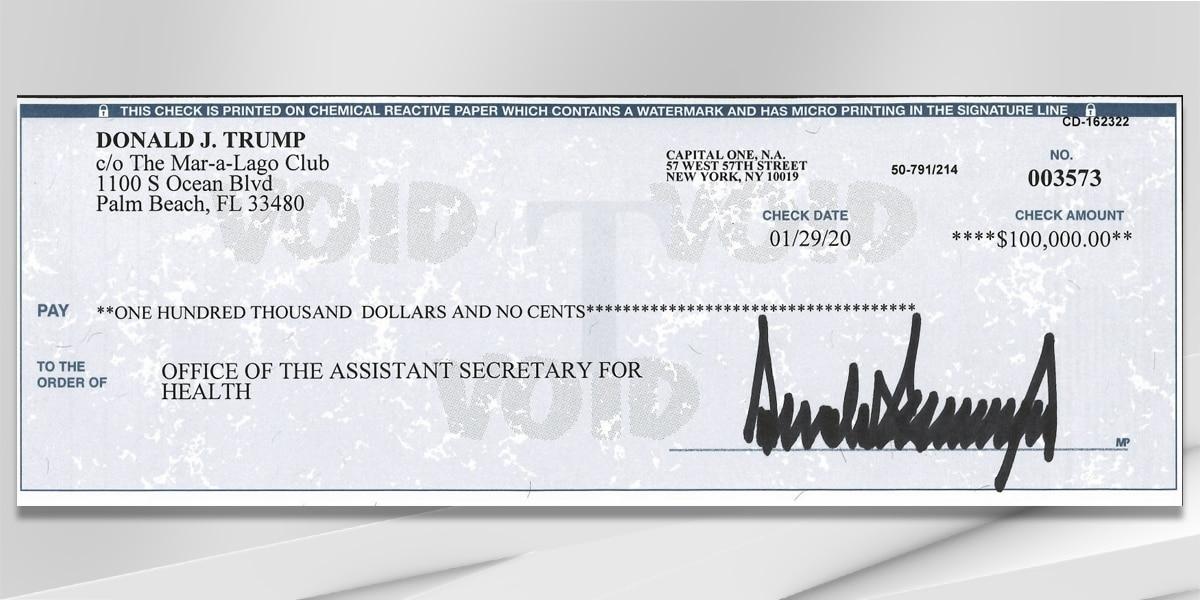 Report: President Trump donating quarterly salary to help fight coronavirus