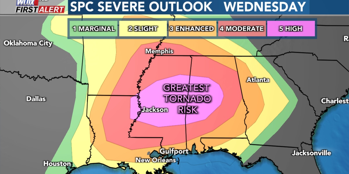 First Alert: Severe weather outbreak expected. Worst threat in North MS.