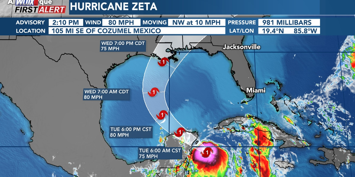 Zeta now a category one hurricane. Tropical watches or warnings may be issued later today.