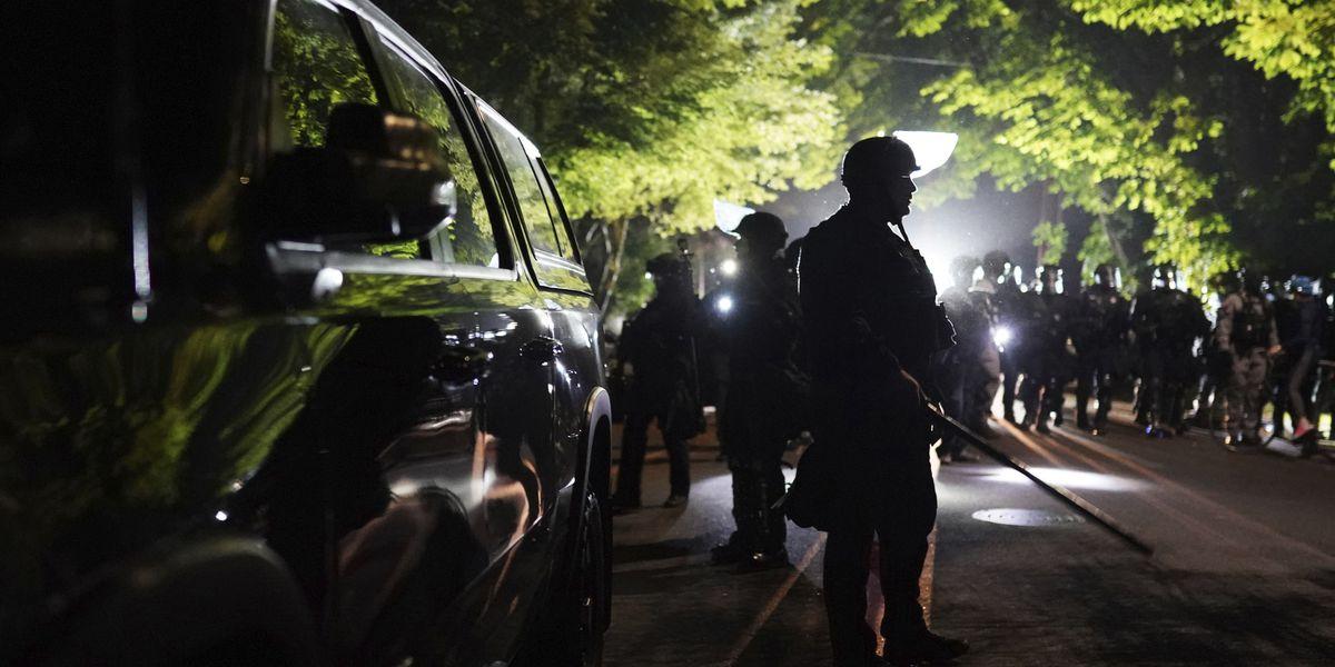 Portland protesters set fires, use mortar; 2 officers hurt