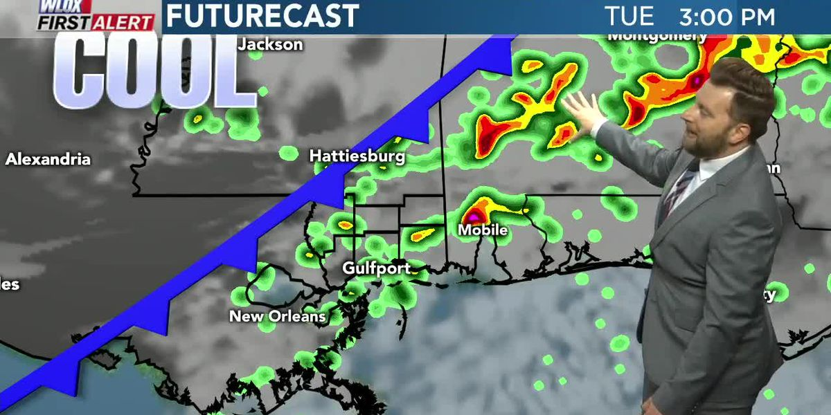 Cold front could bring a few strong storms and much cooler temps Tuesday