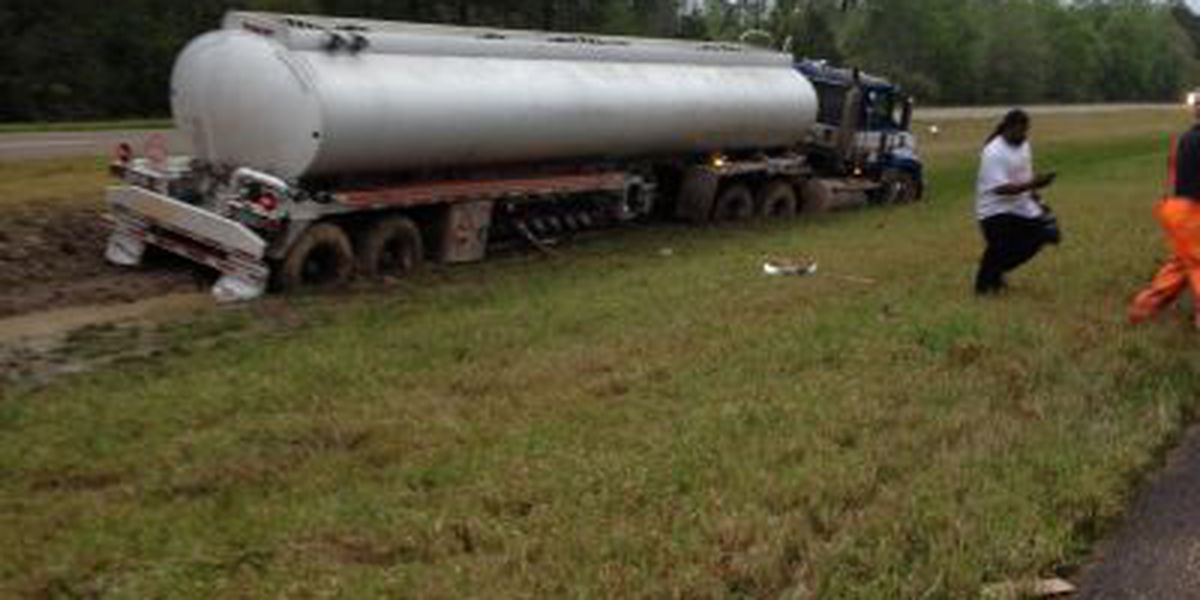 Fully-loaded gas tank truck stuck in Hwy. 63 median