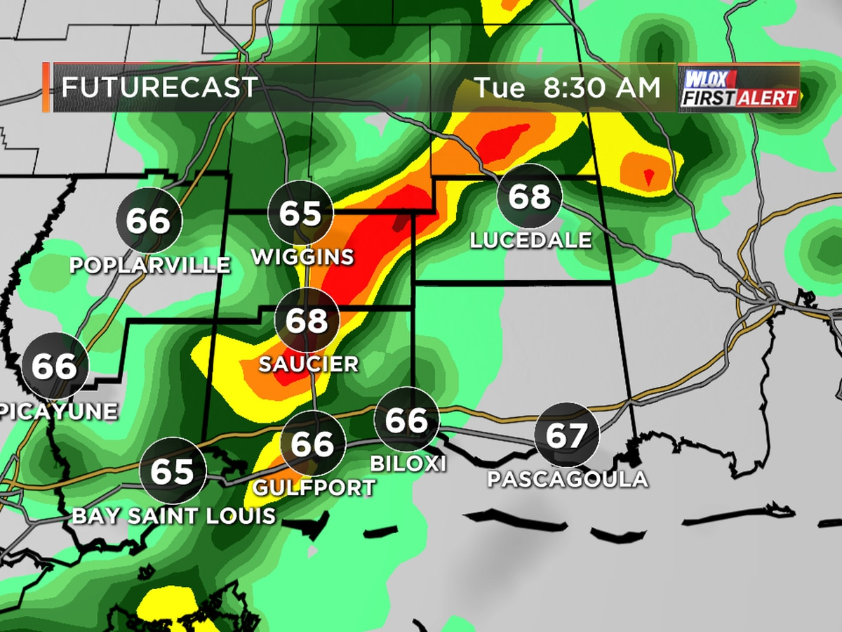 Heavy downpours possible on Tuesday
