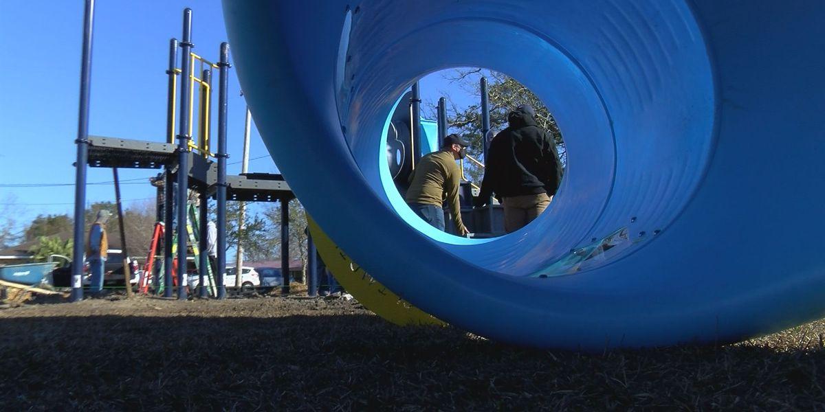 Waveland playground takes shape with community support