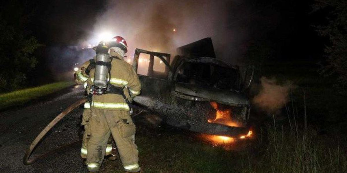 Explosions, fire tear through van in Harrison County ditch