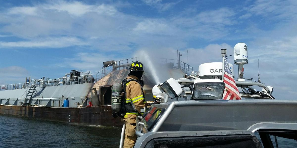 No spills after barge catches fire in MS Sound