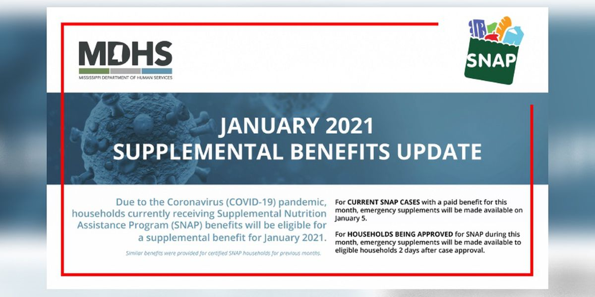 MDHS: Households receiving SNAP benefits are eligible for supplemental benefit for January