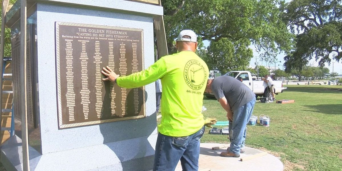 Crews prepare Biloxi's new Golden Fisherman statue for grand reveal