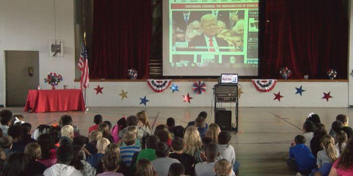 Woolmarket Elementary students watch inauguration