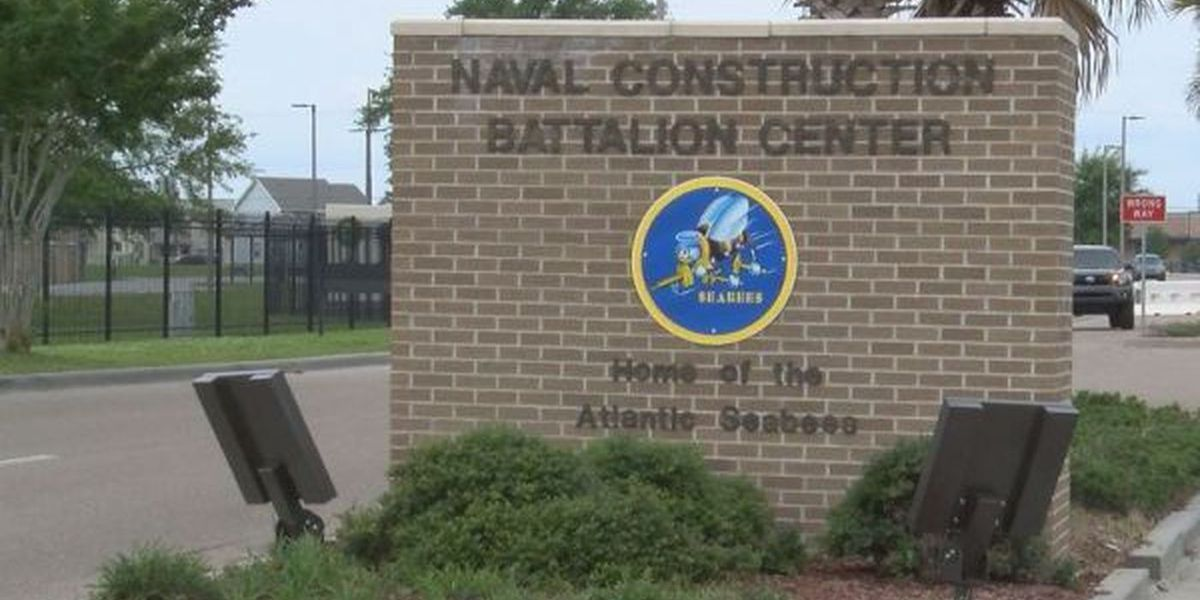 Entrance gate at Naval Construction Battalion Center temporarily closed