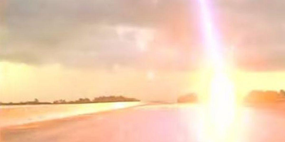 Lightning strike narrowly misses Gautier police cruiser