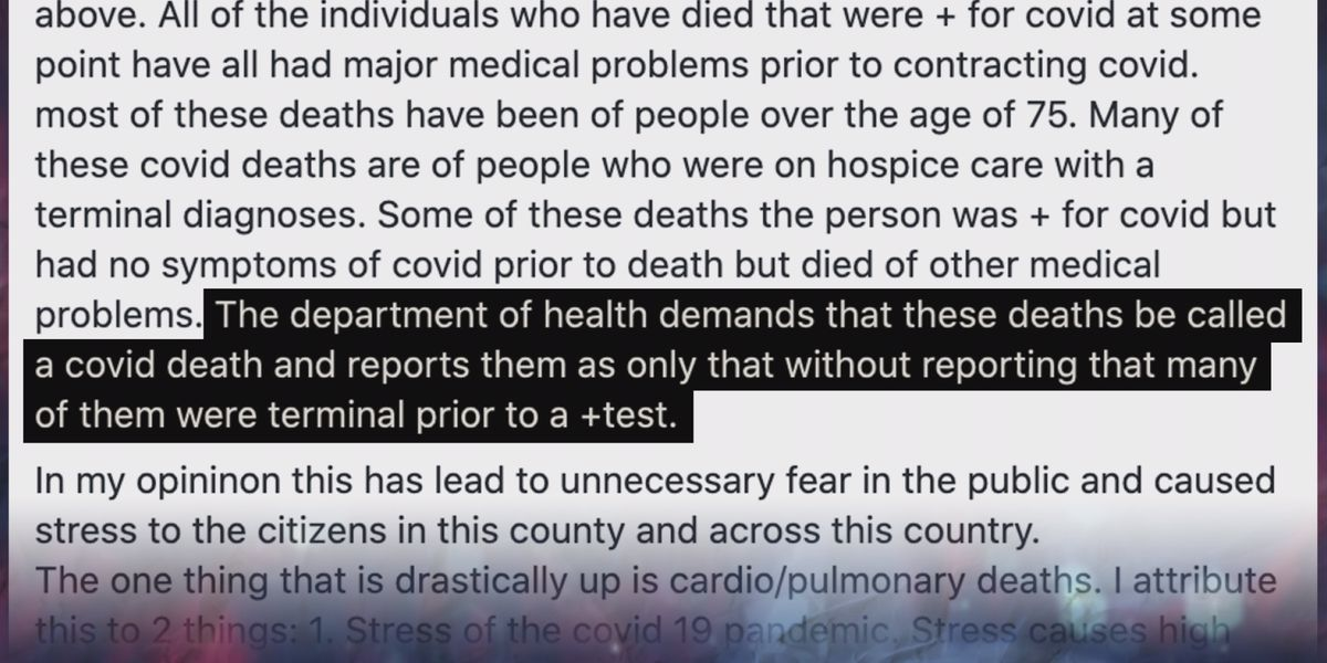 3 On Your Side debunks coroner's COVID-19 claim, called 'ridiculous' by state's health dept.