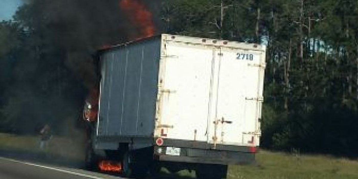 Truck fire on I-10 in Jackson Co.