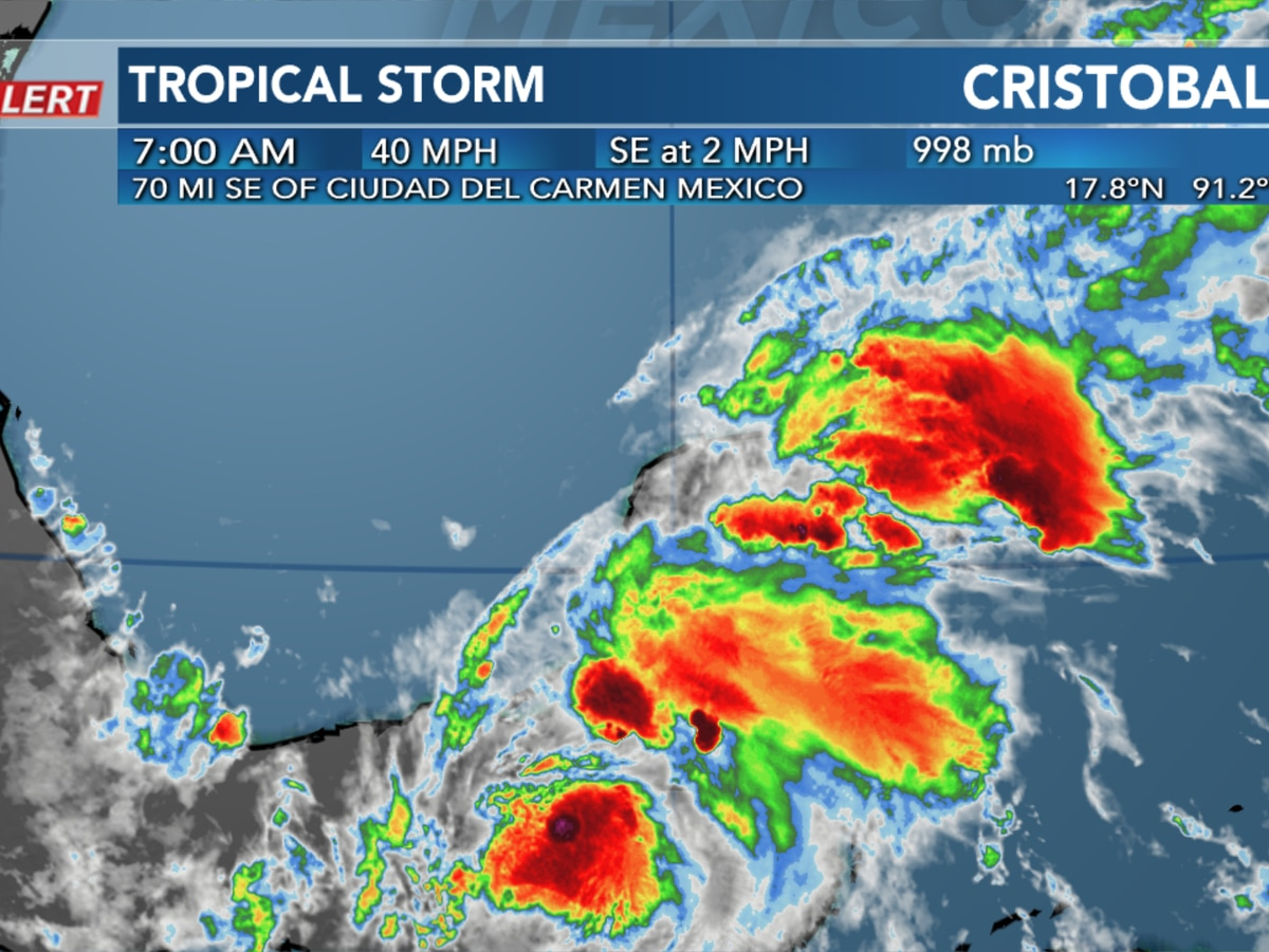 Cristobal barely a tropical storm early Thursday